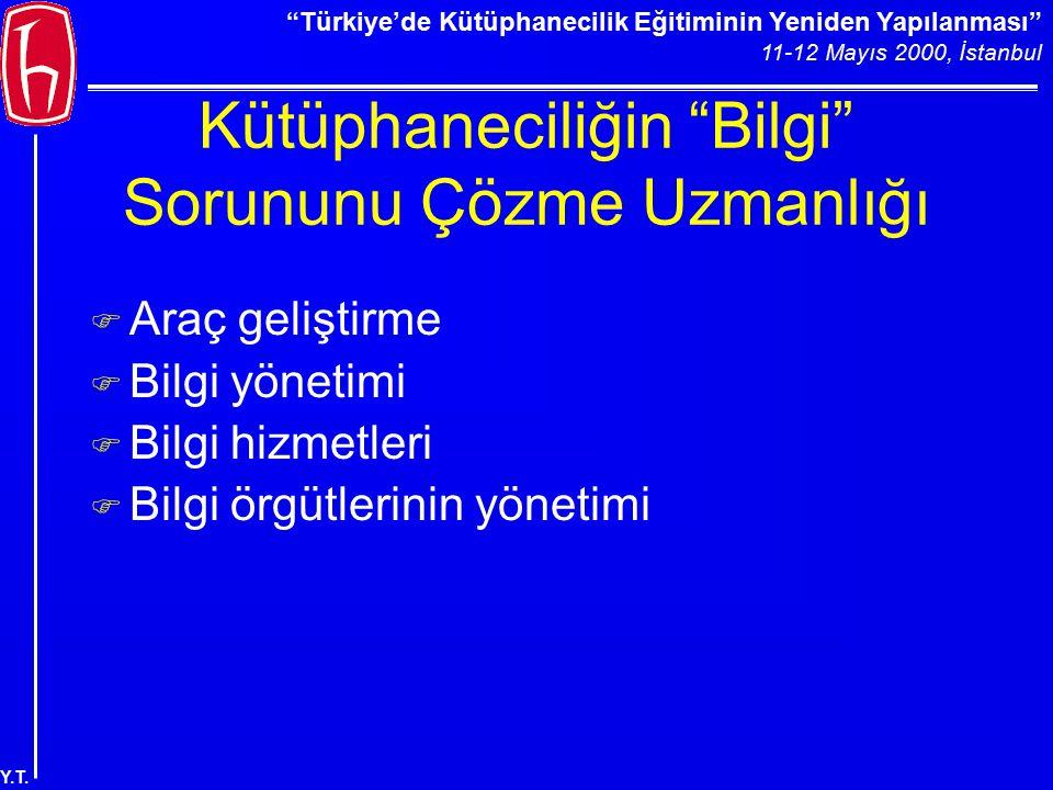 """""""Türkiye'de Kütüphanecilik Eğitiminin Yeniden Yapılanması"""" 11-12 Mayıs 2000, İstanbul Y.T. Kütüphaneciliğin """"Bilgi"""" Sorununu Çözme Uzmanlığı F Araç ge"""