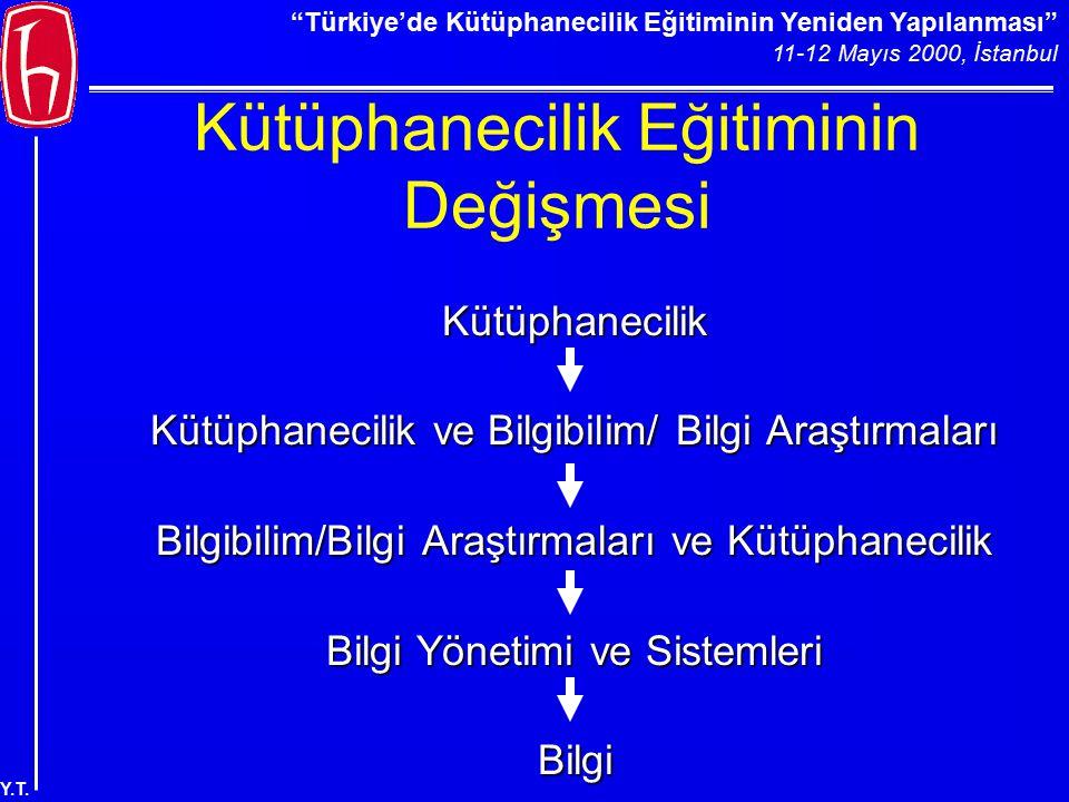 """""""Türkiye'de Kütüphanecilik Eğitiminin Yeniden Yapılanması"""" 11-12 Mayıs 2000, İstanbul Y.T. Kütüphanecilik Eğitiminin Değişmesi Kütüphanecilik Kütüphan"""