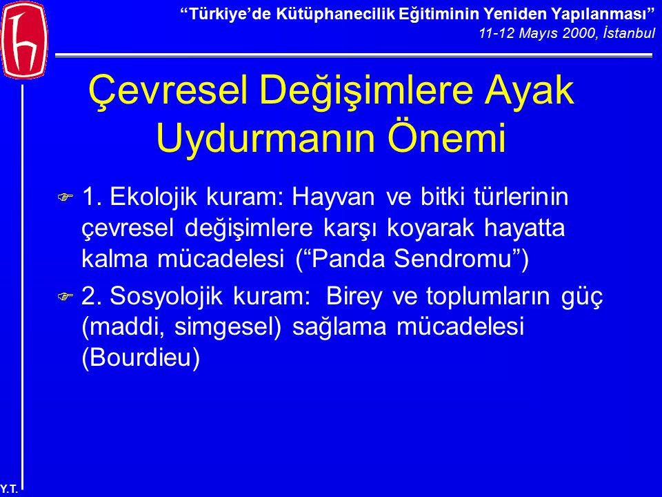 """""""Türkiye'de Kütüphanecilik Eğitiminin Yeniden Yapılanması"""" 11-12 Mayıs 2000, İstanbul Y.T. Çevresel Değişimlere Ayak Uydurmanın Önemi F 1. Ekolojik ku"""