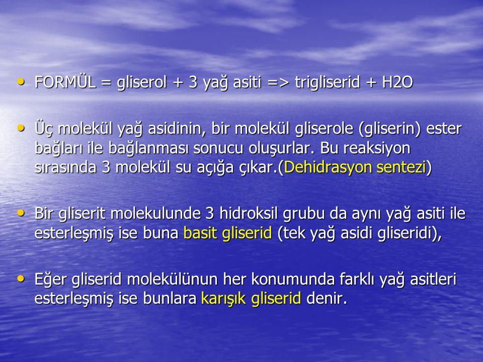 FORMÜL = gliserol + 3 yağ asiti => trigliserid + H2O FORMÜL = gliserol + 3 yağ asiti => trigliserid + H2O Üç molekül yağ asidinin, bir molekül glisero