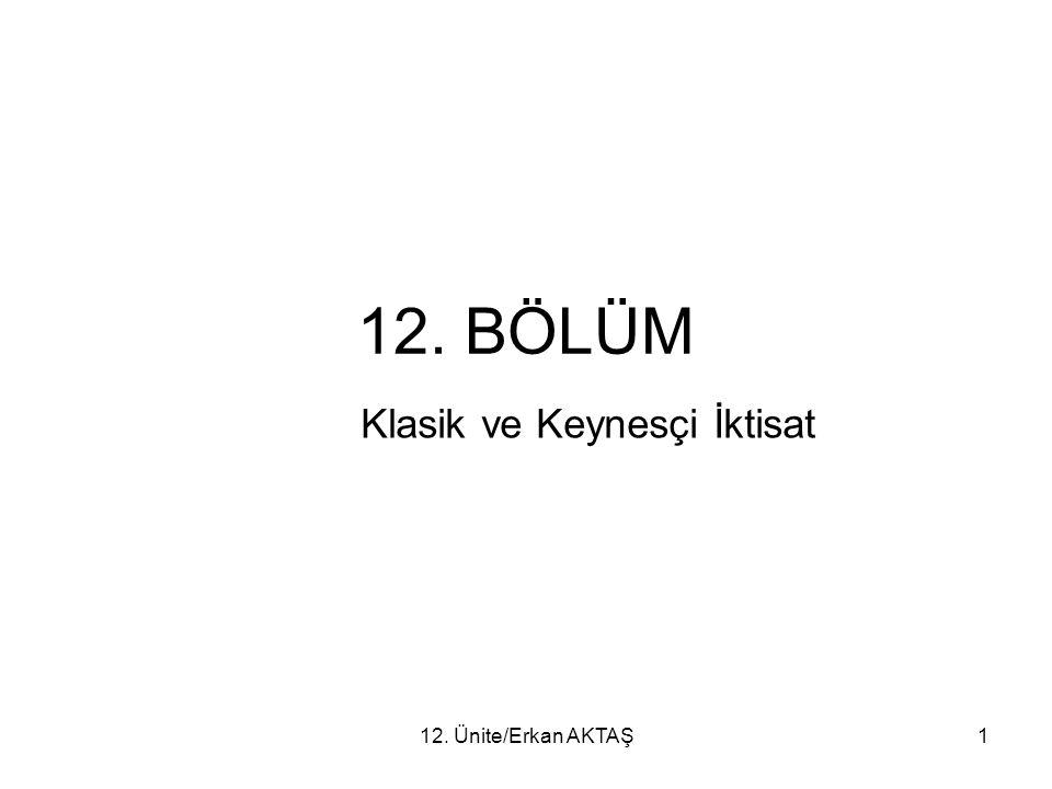 12. Ünite/Erkan AKTAŞ1 12. BÖLÜM Klasik ve Keynesçi İktisat