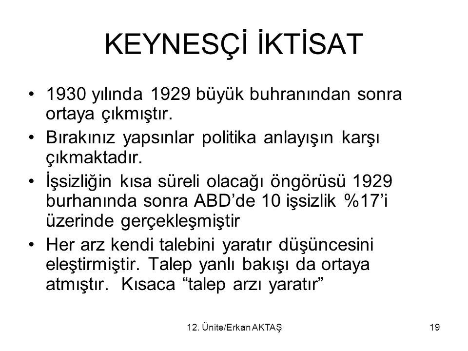 12. Ünite/Erkan AKTAŞ19 KEYNESÇİ İKTİSAT 1930 yılında 1929 büyük buhranından sonra ortaya çıkmıştır. Bırakınız yapsınlar politika anlayışın karşı çıkm