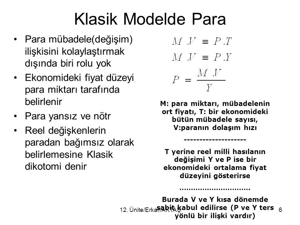 12. Ünite/Erkan AKTAŞ6 Klasik Modelde Para Para mübadele(değişim) ilişkisini kolaylaştırmak dışında biri rolu yok Ekonomideki fiyat düzeyi para miktar