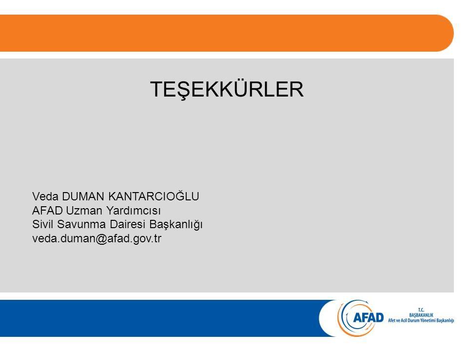 TEŞEKKÜRLER Veda DUMAN KANTARCIOĞLU AFAD Uzman Yardımcısı Sivil Savunma Dairesi Başkanlığı veda.duman@afad.gov.tr