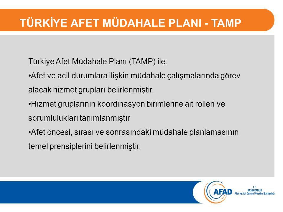 Türkiye Afet Müdahale Planı (TAMP) ile: Afet ve acil durumlara ilişkin müdahale çalışmalarında görev alacak hizmet grupları belirlenmiştir. Hizmet gru