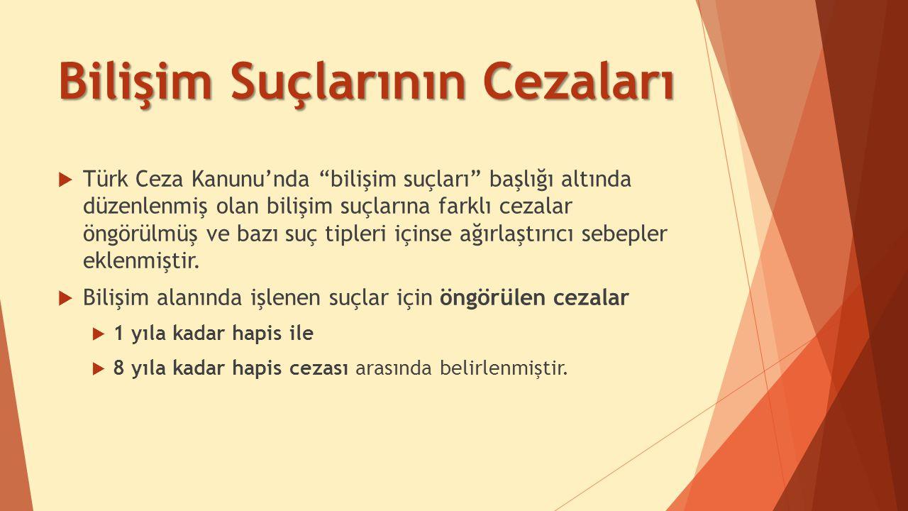 Bilişim Suçlarının Cezaları  Türk Ceza Kanunu'nda bilişim suçları başlığı altında düzenlenmiş olan bilişim suçlarına farklı cezalar öngörülmüş ve bazı suç tipleri içinse ağırlaştırıcı sebepler eklenmiştir.