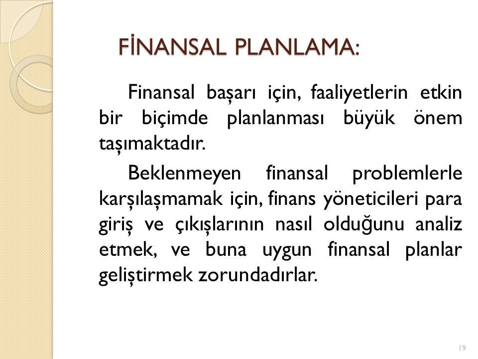 Finansal başarı için, faaliyetlerin etkin bir biçimde planlanması büyük önem taşımaktadır.