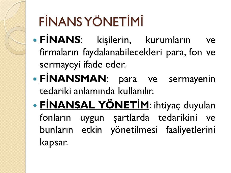 F İ NANS YÖNET İ M İ F İ NANS: kişilerin, kurumların ve firmaların faydalanabilecekleri para, fon ve sermayeyi ifade eder.