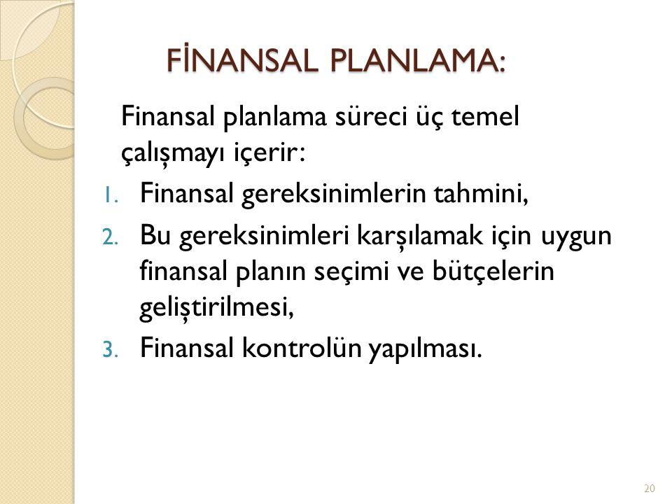 Finansal planlama süreci üç temel çalışmayı içerir: 1.