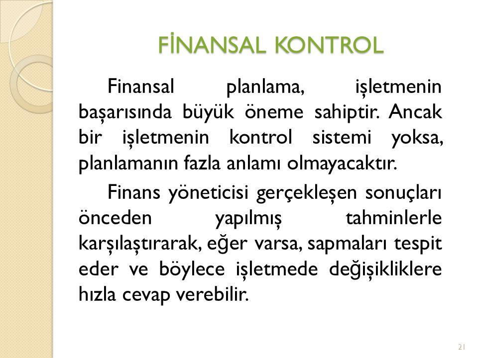 Finansal planlama, işletmenin başarısında büyük öneme sahiptir.