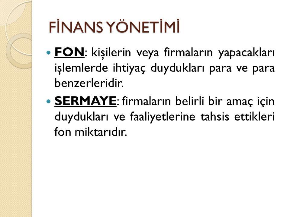 F İ NANS YÖNET İ M İ FON: kişilerin veya firmaların yapacakları işlemlerde ihtiyaç duydukları para ve para benzerleridir.