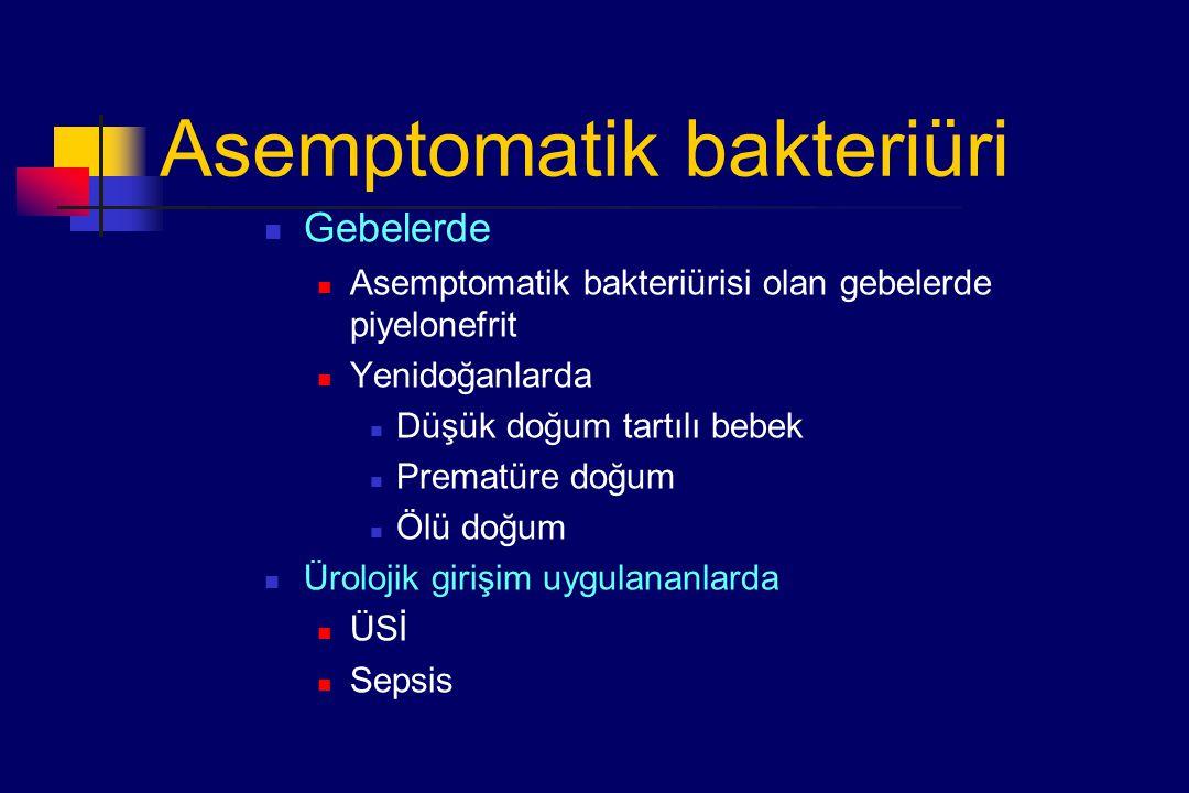 Asemptomatik bakteriüri Gebelerde Asemptomatik bakteriürisi olan gebelerde piyelonefrit Yenidoğanlarda Düşük doğum tartılı bebek Prematüre doğum Ölü doğum Ürolojik girişim uygulananlarda ÜSİ Sepsis