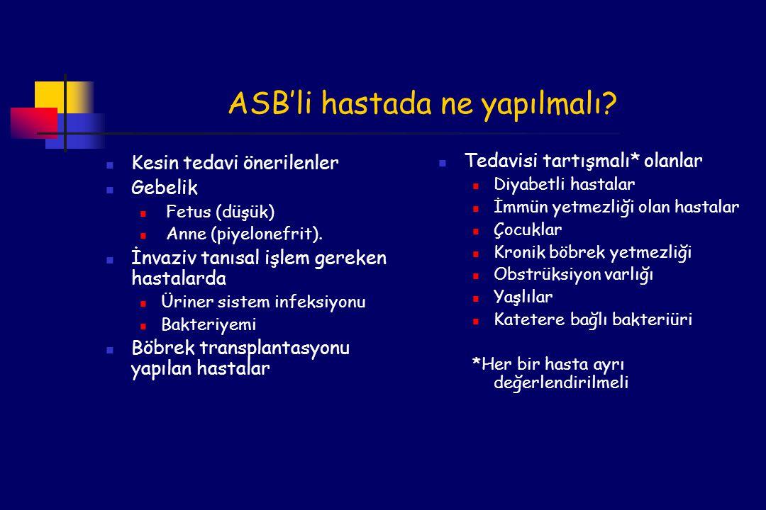 ASB'li hastada ne yapılmalı.Kesin tedavi önerilenler Gebelik Fetus (düşük) Anne (piyelonefrit).