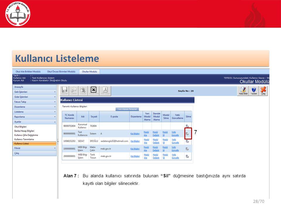 """28/70 Kullanıcı Listeleme 7 Alan 7 : Bu alanda kullanıcı satırında bulunan """"Sil"""" düğmesine bastığınızda aynı satırda kayıtlı olan bilgiler silinecekti"""