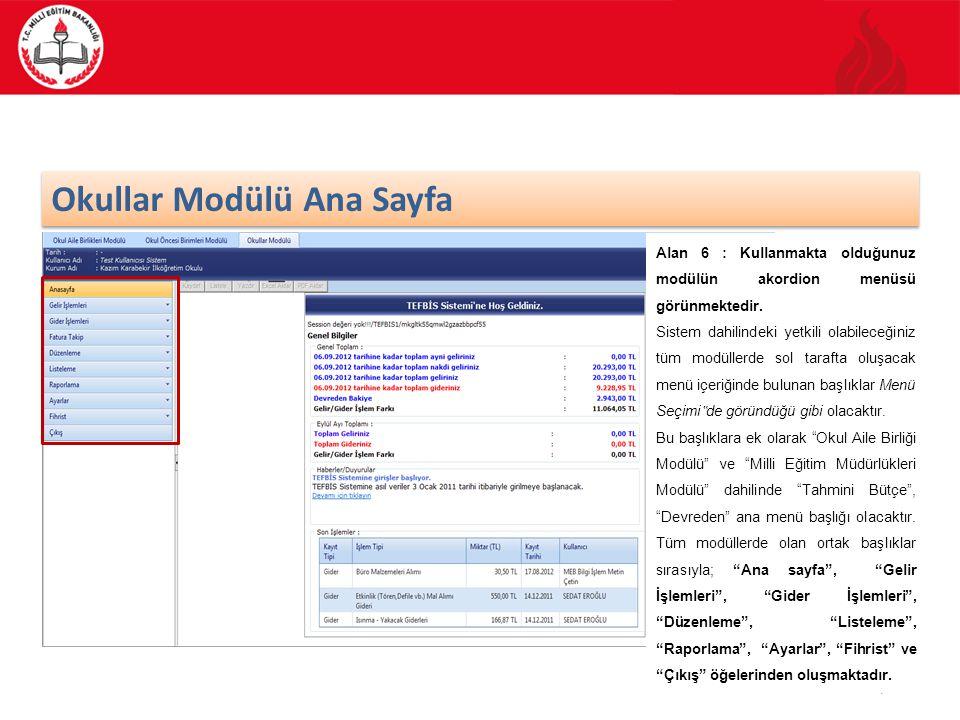 47/70 Okullar Modülü Gider İşlemleri Okullar Modülünün ana ekran görüntüsünde sol menüde, Gider İşlemleri kısmını seçmeniz durumunda karşınıza gelecek olan ekran görüldüğü gibi olacaktır.