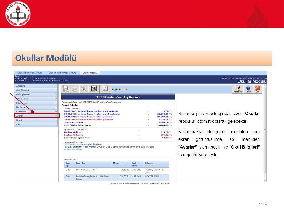 28/70 Kullanıcı Listeleme 7 Alan 7 : Bu alanda kullanıcı satırında bulunan Sil düğmesine bastığınızda aynı satırda kayıtlı olan bilgiler silinecektir.
