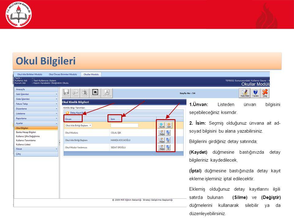 10/70 Banka Hesap Bilgileri Kullanmakta olduğunuz modülün ana ekran görüntüsünden Ayarlar işlemi seçilir ve Banka Hesap Bilgileri kategorisi işaretlenir.