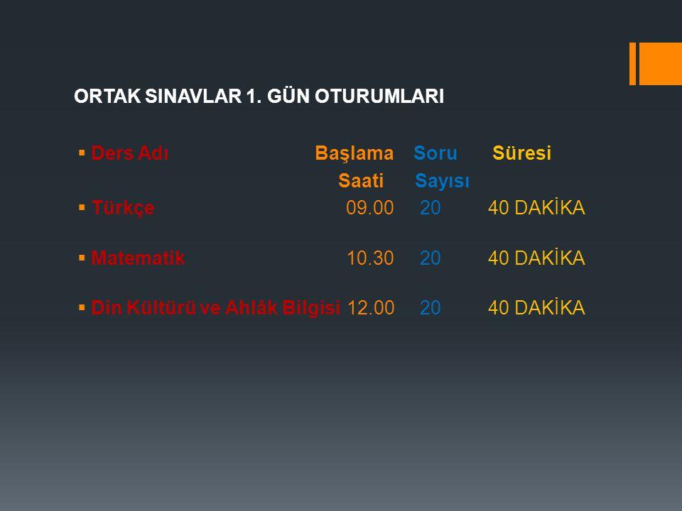  ORTAK SINAVLAR UYGULAMA TAKVİMİ I.