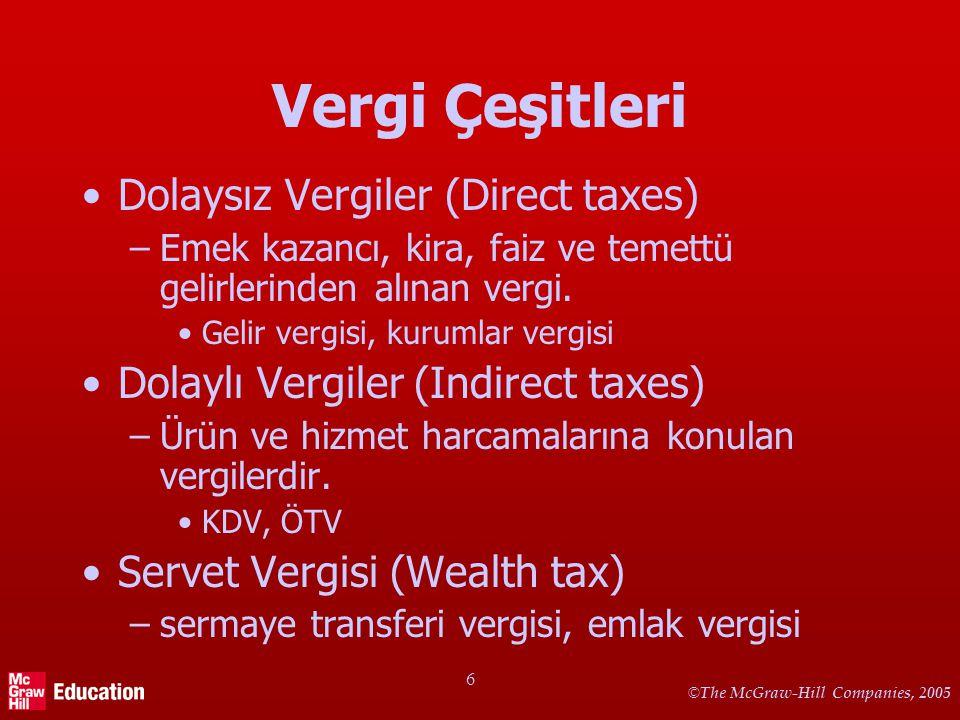 © The McGraw-Hill Companies, 2005 6 Vergi Çeşitleri Dolaysız Vergiler (Direct taxes) –Emek kazancı, kira, faiz ve temettü gelirlerinden alınan vergi.