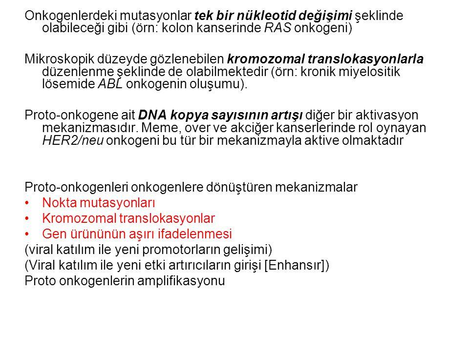 Onkogenlerdeki mutasyonlar tek bir nükleotid değişimi şeklinde olabileceği gibi (örn: kolon kanserinde RAS onkogeni) Mikroskopik düzeyde gözlenebilen kromozomal translokasyonlarla düzenlenme şeklinde de olabilmektedir (örn: kronik miyelositik lösemide ABL onkogenin oluşumu).