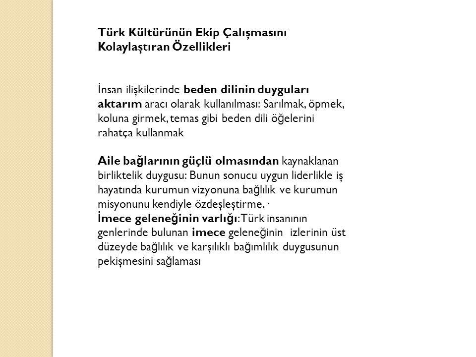 Türk Kültürünün Ekip Çalışmasını Kolaylaştıran Özellikleri İ nsan ilişkilerinde beden dilinin duyguları aktarım aracı olarak kullanılması: Sarılmak, ö