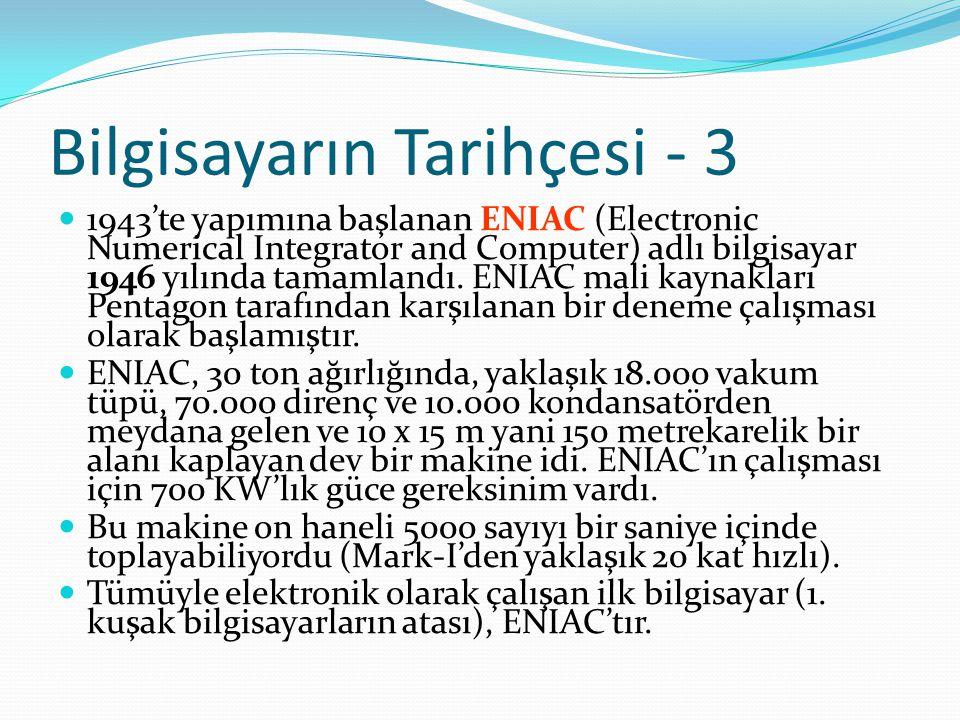 Bilgisayarın Tarihçesi - 3 1943'te yapımına başlanan ENIAC (Electronic Numerical Integrator and Computer) adlı bilgisayar 1946 yılında tamamlandı. ENI
