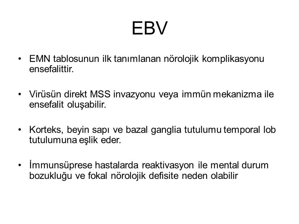 EBV EMN tablosunun ilk tanımlanan nörolojik komplikasyonu ensefalittir. Virüsün direkt MSS invazyonu veya immün mekanizma ile ensefalit oluşabilir. Ko