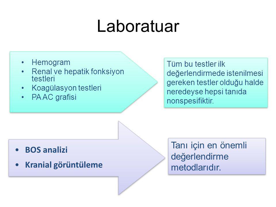 Laboratuar Hemogram Renal ve hepatik fonksiyon testleri Koagülasyon testleri PA AC grafisi Tüm bu testler ilk değerlendirmede istenilmesi gereken test