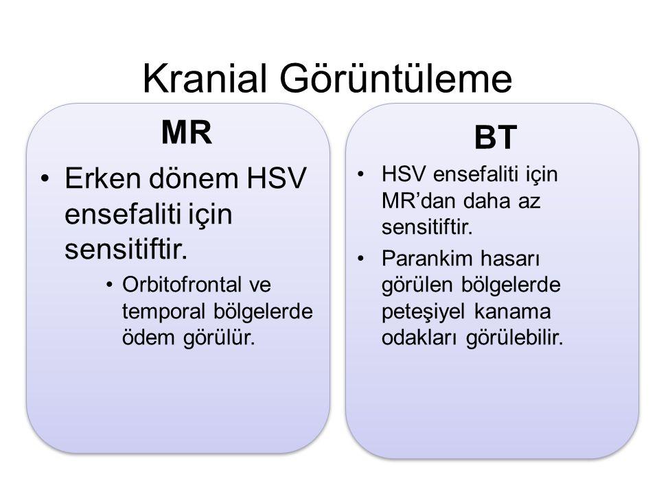 Kranial Görüntüleme Erken dönem HSV ensefaliti için sensitiftir. Orbitofrontal ve temporal bölgelerde ödem görülür. MR HSV ensefaliti için MR'dan daha
