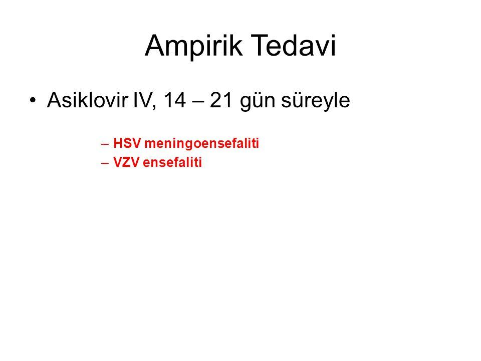 Ampirik Tedavi Asiklovir IV, 14 – 21 gün süreyle –HSV meningoensefaliti –VZV ensefaliti