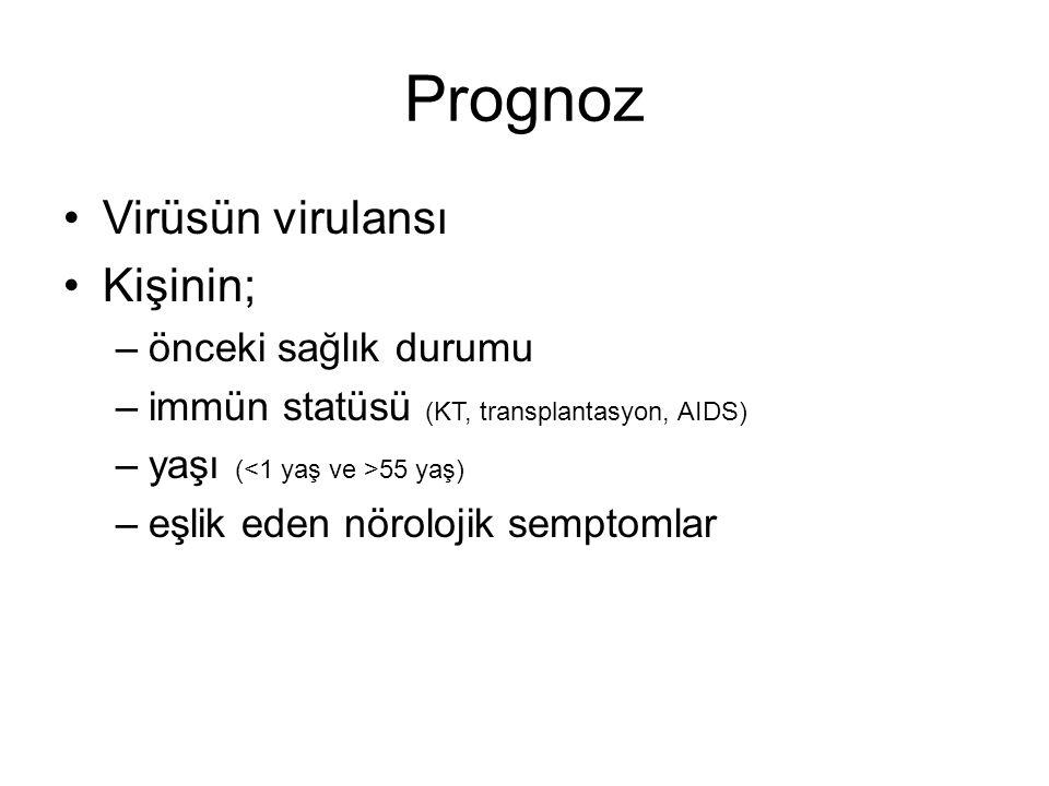 Prognoz Virüsün virulansı Kişinin; –önceki sağlık durumu –immün statüsü (KT, transplantasyon, AIDS) –yaşı ( 55 yaş) –eşlik eden nörolojik semptomlar