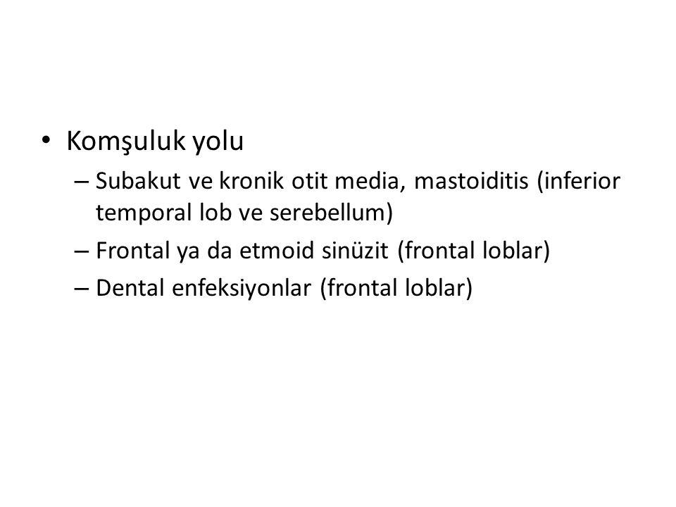 Komşuluk yolu – Subakut ve kronik otit media, mastoiditis (inferior temporal lob ve serebellum) – Frontal ya da etmoid sinüzit (frontal loblar) – Dent