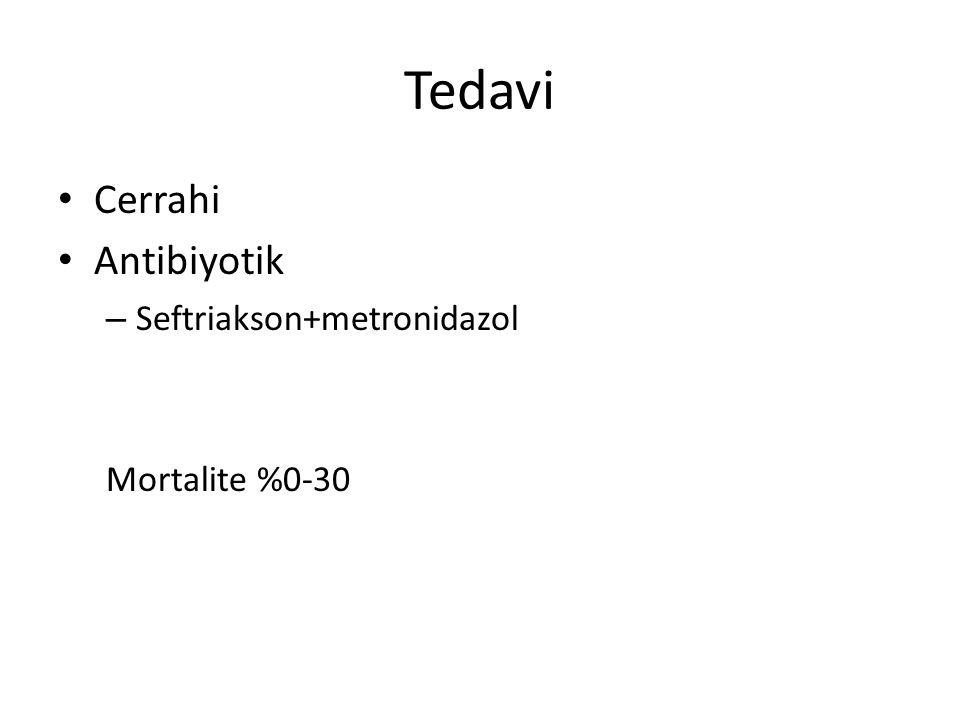 Tedavi Cerrahi Antibiyotik – Seftriakson+metronidazol Mortalite %0-30