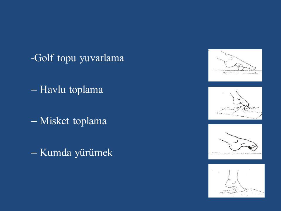 -Golf topu yuvarlama – Havlu toplama – Misket toplama – Kumda yürümek