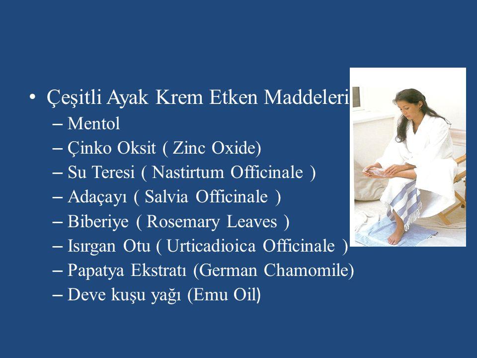 Çeşitli Ayak Krem Etken Maddeleri: – Mentol – Çinko Oksit ( Zinc Oxide) – Su Teresi ( Nastirtum Officinale ) – Adaçayı ( Salvia Officinale ) – Biberiy