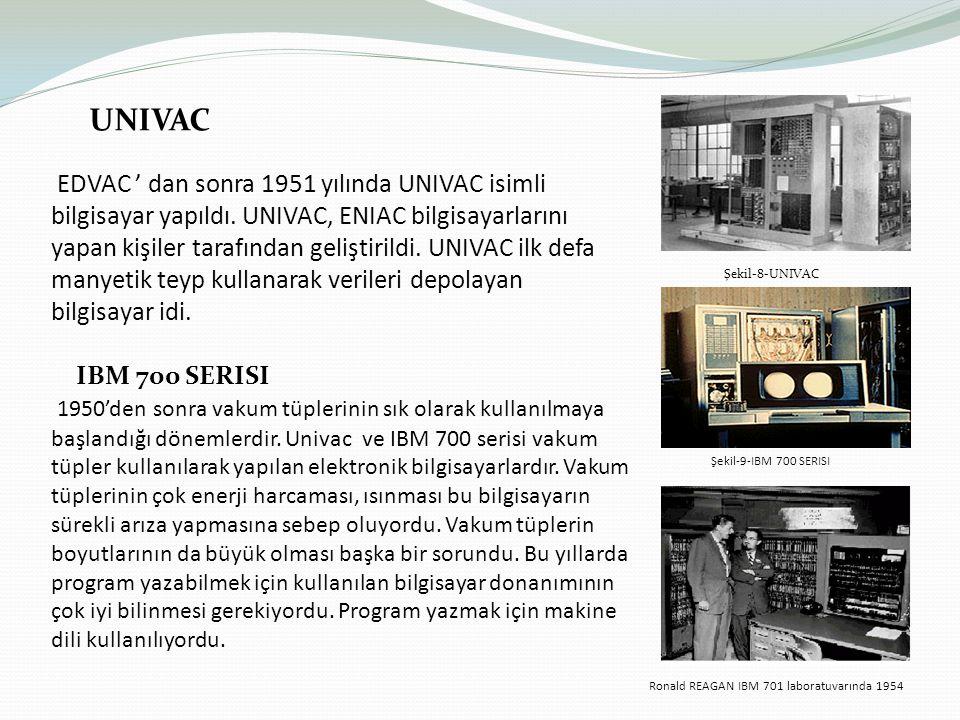 UNIVAC EDVAC ' dan sonra 1951 yılında UNIVAC isimli bilgisayar yapıldı.