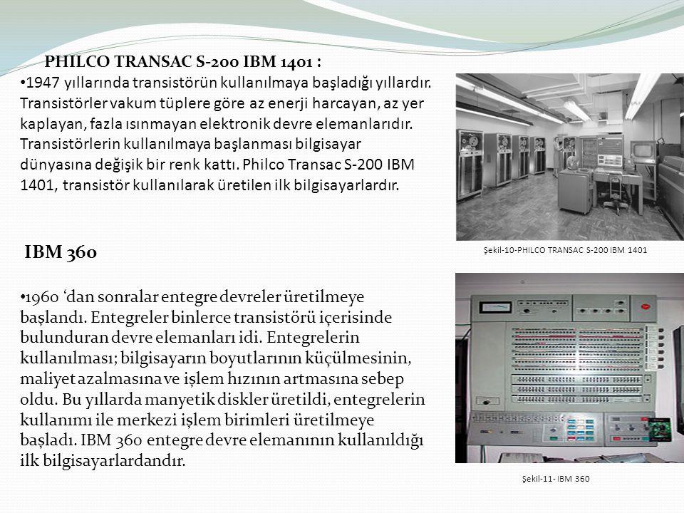 PHILCO TRANSAC S-200 IBM 1401 : 1947 yıllarında transistörün kullanılmaya başladığı yıllardır. Transistörler vakum tüplere göre az enerji harcayan, az