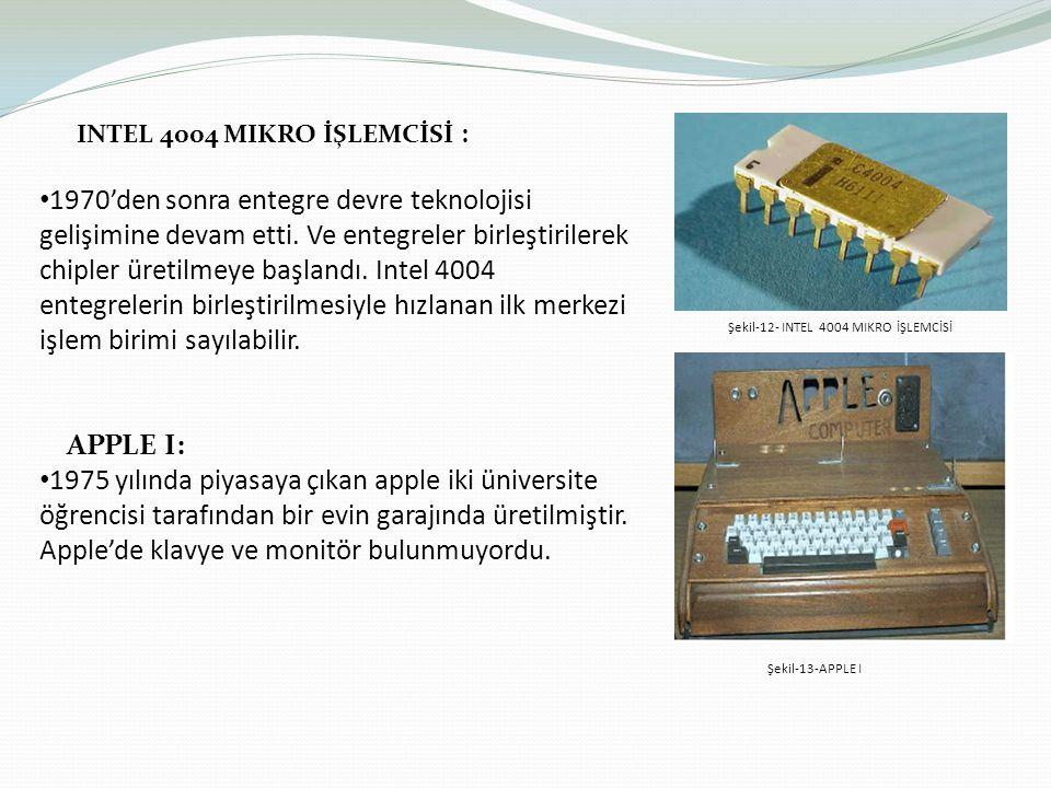INTEL 4004 MIKRO İŞLEMCİSİ : 1970'den sonra entegre devre teknolojisi gelişimine devam etti. Ve entegreler birleştirilerek chipler üretilmeye başlandı
