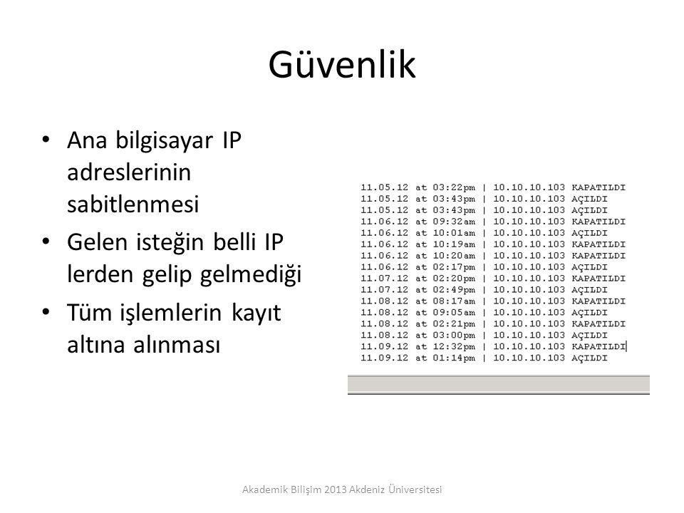 Güvenlik Ana bilgisayar IP adreslerinin sabitlenmesi Gelen isteğin belli IP lerden gelip gelmediği Tüm işlemlerin kayıt altına alınması Akademik Bilişim 2013 Akdeniz Üniversitesi
