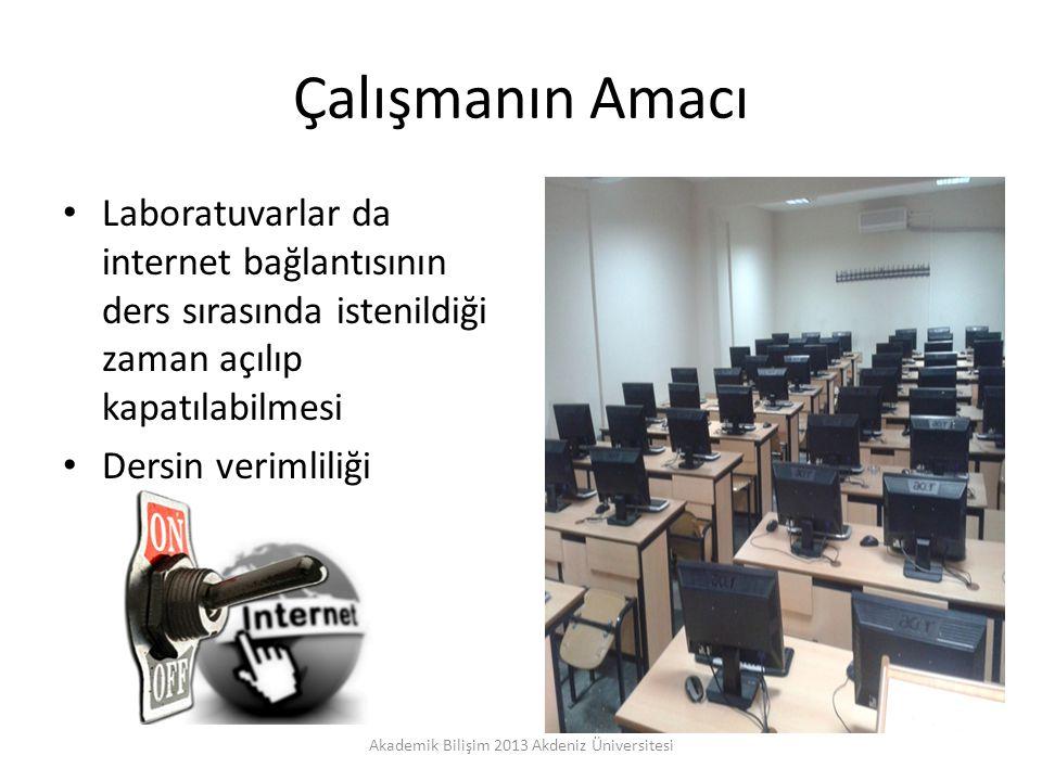 Çalışmanın Amacı Laboratuvarlar da internet bağlantısının ders sırasında istenildiği zaman açılıp kapatılabilmesi Dersin verimliliği Akademik Bilişim 2013 Akdeniz Üniversitesi