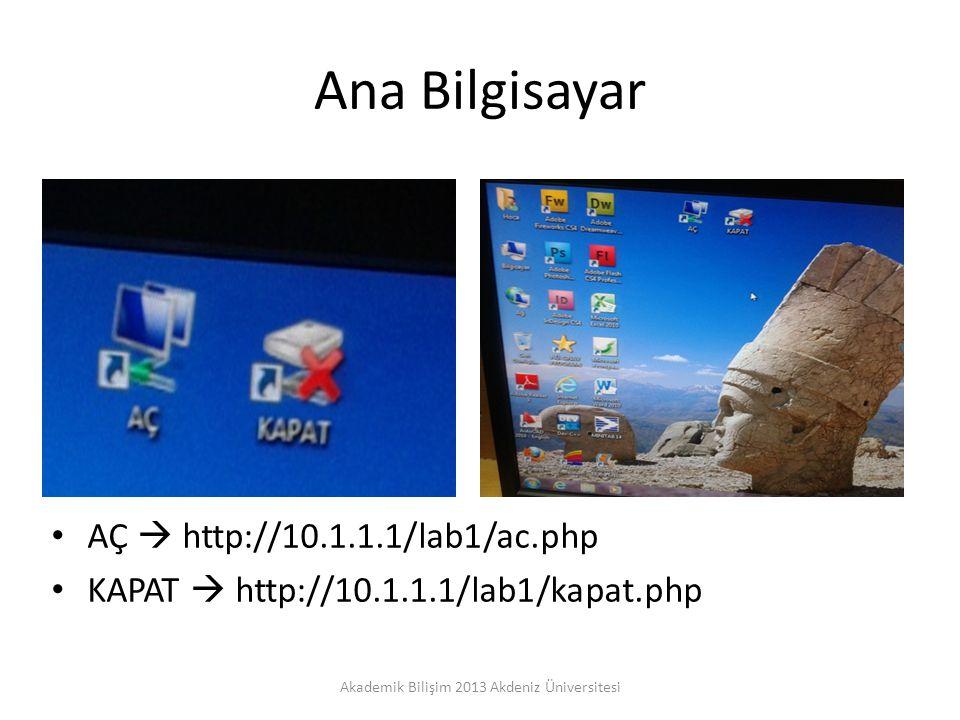 Ana Bilgisayar AÇ  http://10.1.1.1/lab1/ac.php KAPAT  http://10.1.1.1/lab1/kapat.php Akademik Bilişim 2013 Akdeniz Üniversitesi