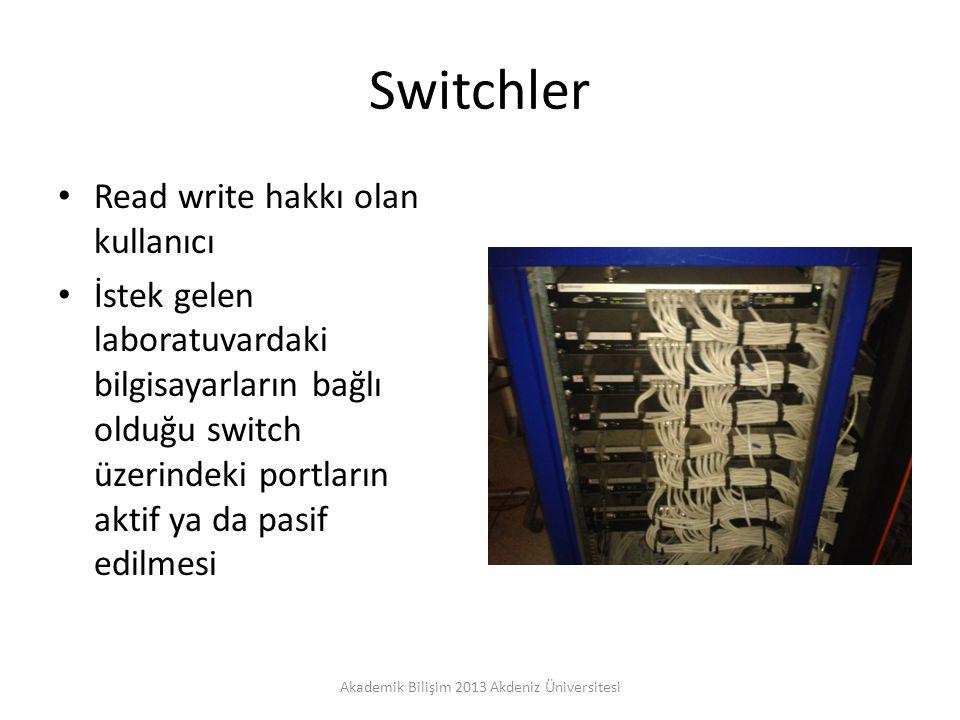 Switchler Read write hakkı olan kullanıcı İstek gelen laboratuvardaki bilgisayarların bağlı olduğu switch üzerindeki portların aktif ya da pasif edilmesi Akademik Bilişim 2013 Akdeniz Üniversitesi