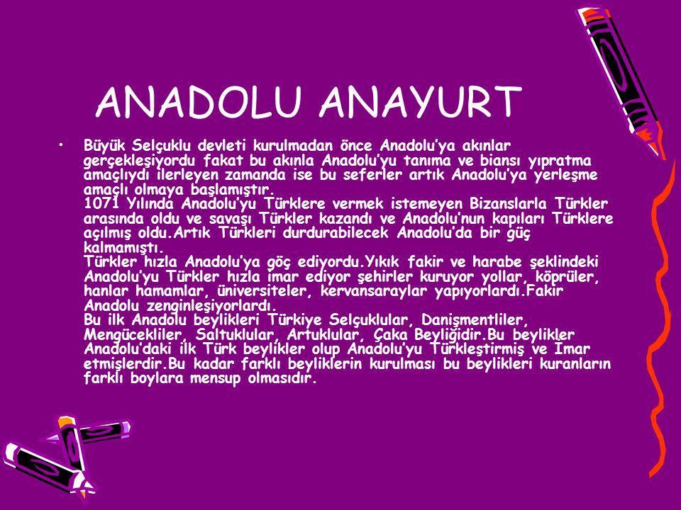 ANADOLU ANAYURT Büyük Selçuklu devleti kurulmadan önce Anadolu'ya akınlar gerçekleşiyordu fakat bu akınla Anadolu'yu tanıma ve biansı yıpratma amaçlıy
