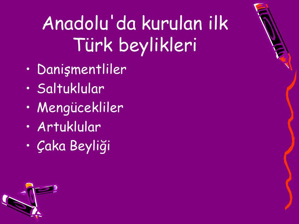Anadolu'da kurulan ilk Türk beylikleri Danişmentliler Saltuklular Mengücekliler Artuklular Çaka Beyliği