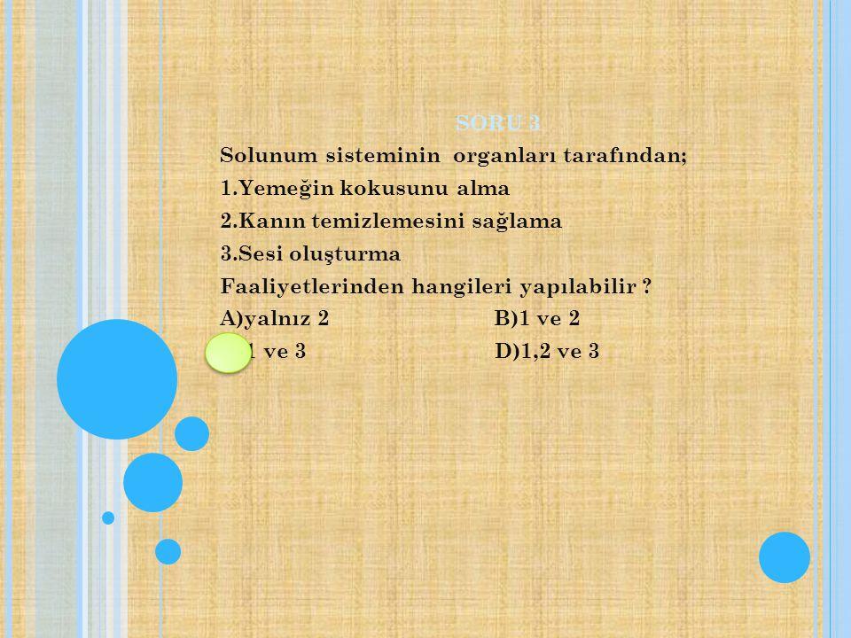 SORU 3 Solunum sisteminin organları tarafından; 1.Yemeğin kokusunu alma 2.Kanın temizlemesini sağlama 3.Sesi oluşturma Faaliyetlerinden hangileri yapılabilir .