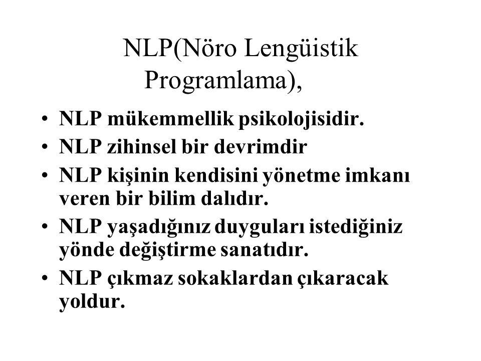 NLP(Nöro Lengüistik Programlama), NLP mükemmellik psikolojisidir.