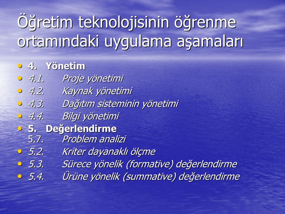 Öğretim teknolojisinin öğrenme ortamındaki uygulama aşamaları 4.Yönetim 4.Yönetim 4.1. Proje yönetimi 4.1. Proje yönetimi 4.2. Kaynak yönetimi 4.2. Ka