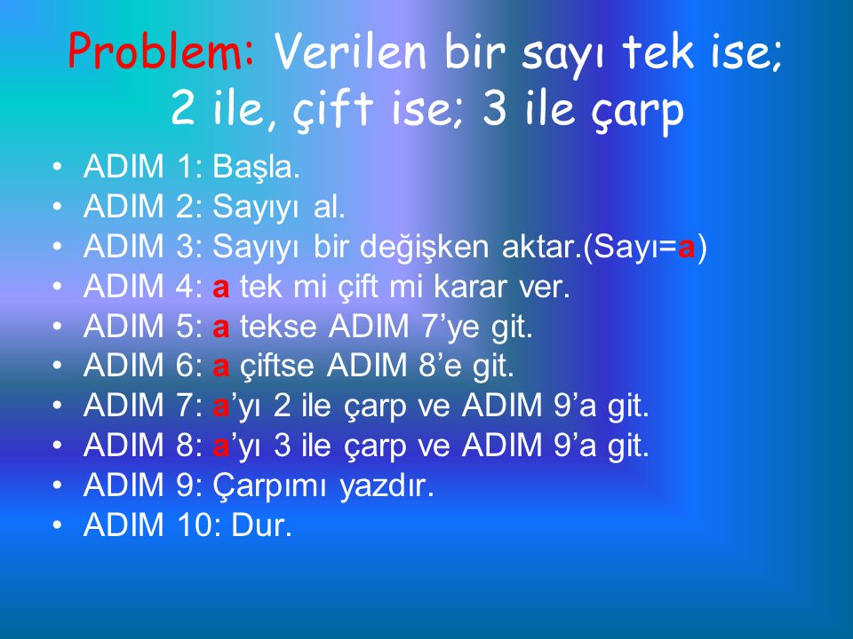Problem: Verilen bir sayı tek ise; 2 ile, çift ise; 3 ile çarp ADIM 1: Başla. ADIM 2: Sayıyı al. ADIM 3: Sayıyı bir değişken aktar.(Sayı=a) ADIM 4: a