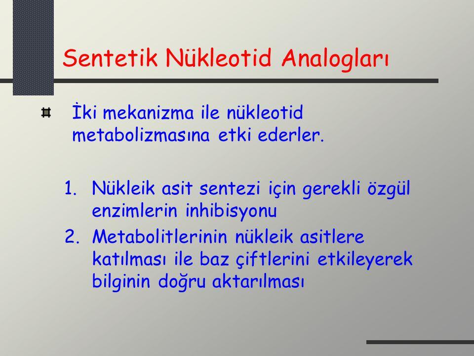 Sentetik Nükleotid Analogları İki mekanizma ile nükleotid metabolizmasına etki ederler. 1.Nükleik asit sentezi için gerekli özgül enzimlerin inhibisyo