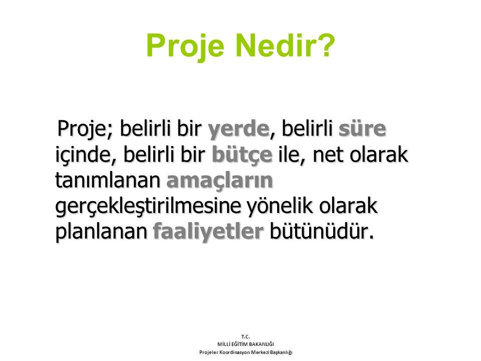 Proje Nedir? Proje; belirli bir yerde, belirli süre içinde, belirli bir bütçe ile, net olarak tanımlanan amaçların gerçekleştirilmesine yönelik olarak